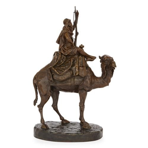 Large patinated bronze Orientalist sculpture by Pinedo