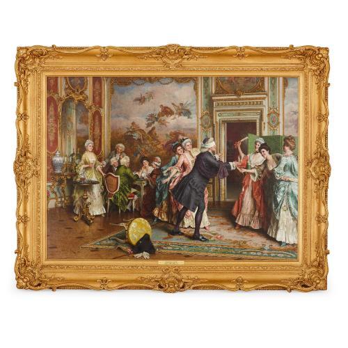 'Blindman's Bluff', antique Italian oil painting by Ricci
