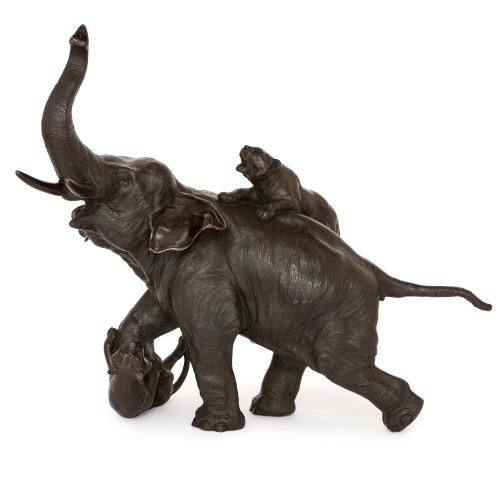 Japanese Meiji period bronze model of an elephant and tigers
