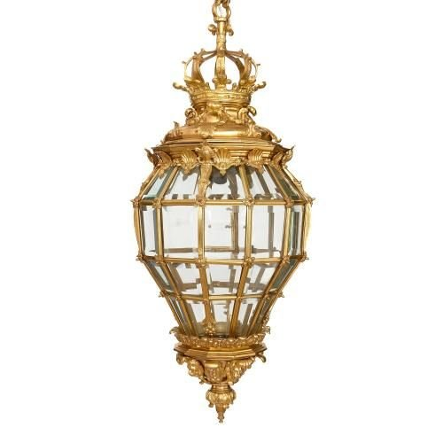 Very large ormolu and bevelled glass French beehive lantern