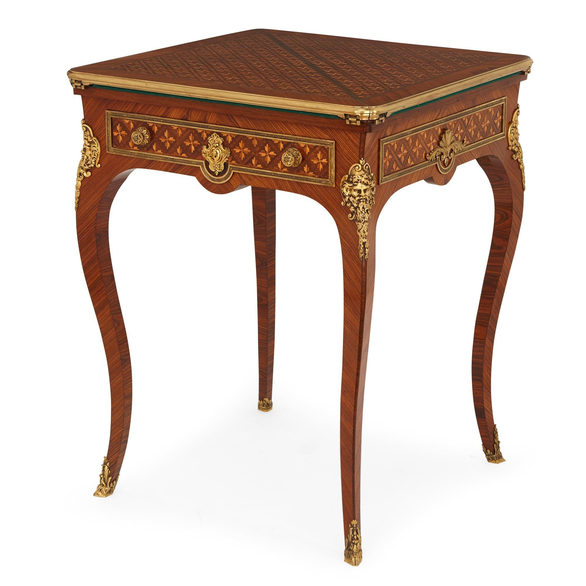 Louis Xv Style Ormolu Mounted Parquetry Folding Card Table