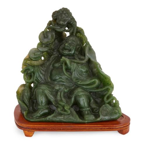 Chinese antique Buddha sculpted in nephrite jade