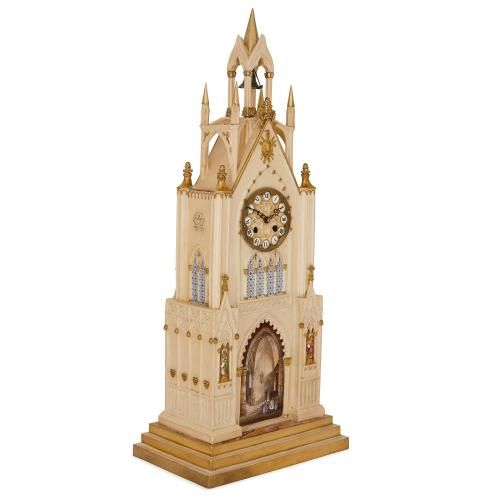 Antique Gothic revival Dagoty and Honore porcelain mantel clock