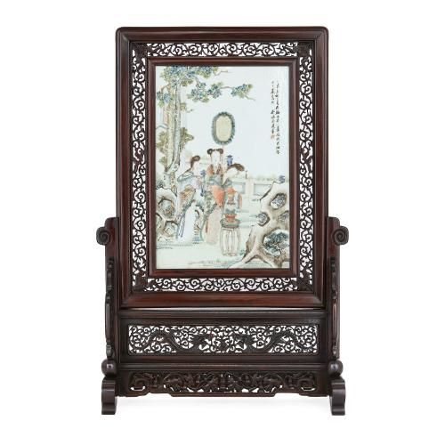 Antique Chinese carved wood screen with porcelain plaque