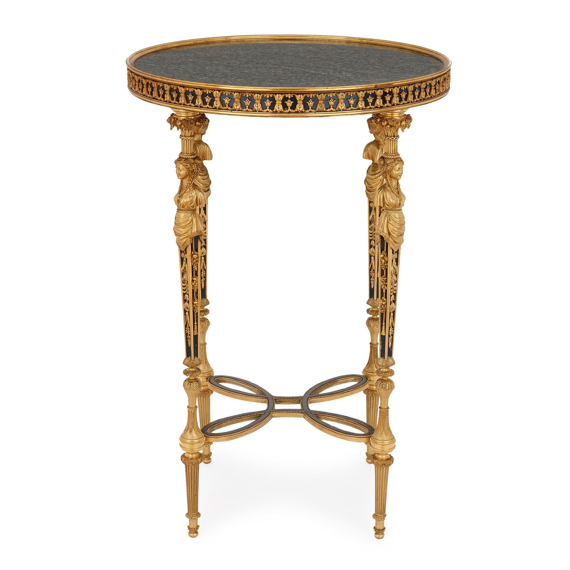 louis xvi style french ormolu and marble round side table. Black Bedroom Furniture Sets. Home Design Ideas