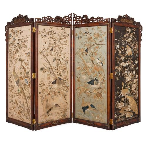 Embroidered silk and rosewood four panel screen