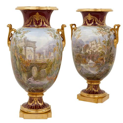 Pair of Napoleon III ormolu mounted Sevres porcelain vases