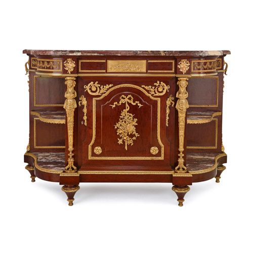 Antique French ormolu mounted mahogany commode by Linke