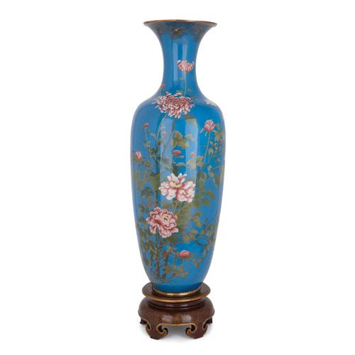 Large antique Japanese Meiji period cloisonné enamel vase