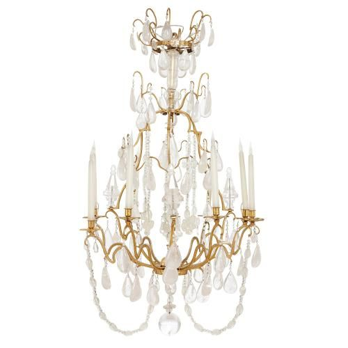 French Belle Epoque ormolu and rock crystal chandelier