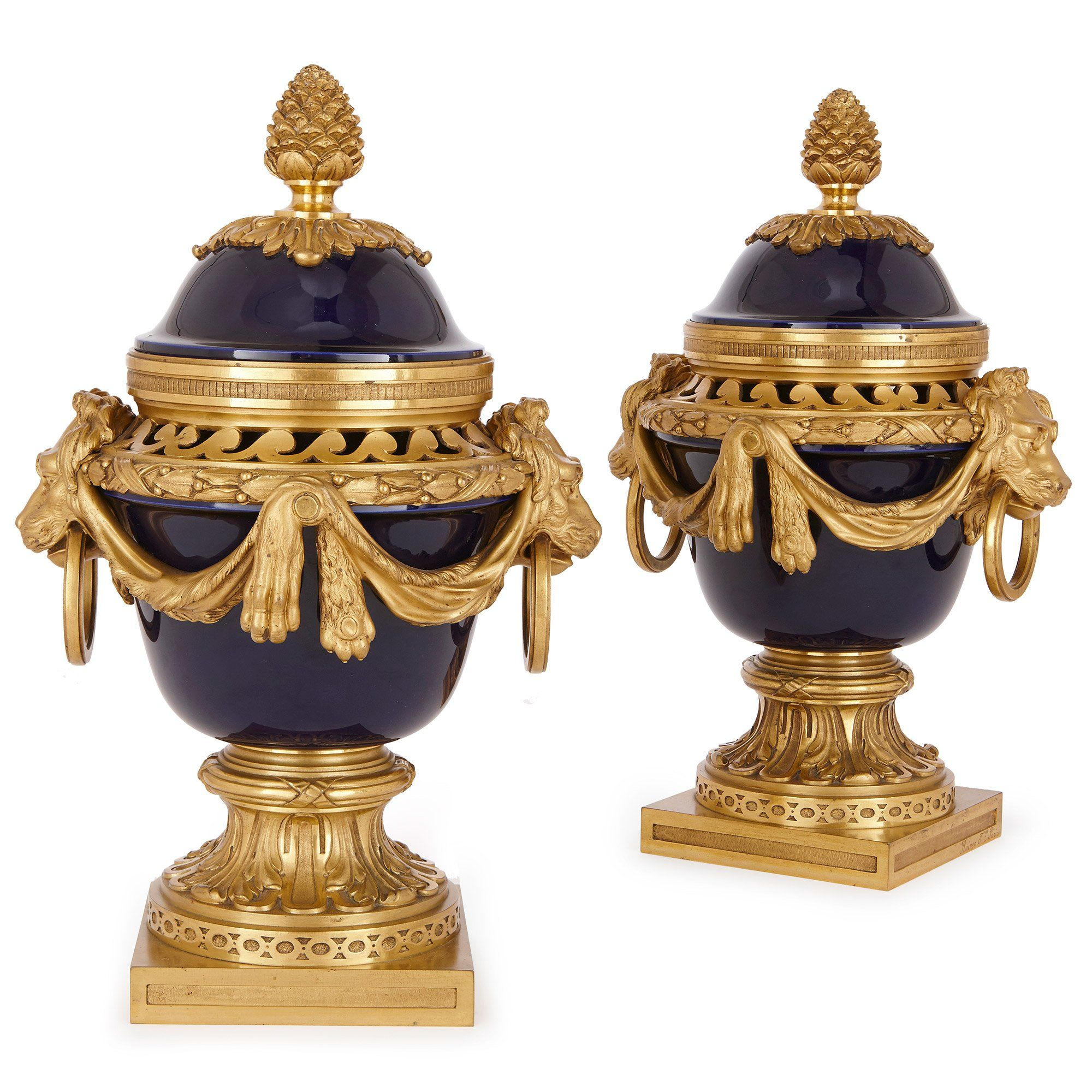 Pair Of Antique Porcelain And Ormolu Urns By Raingo Freres