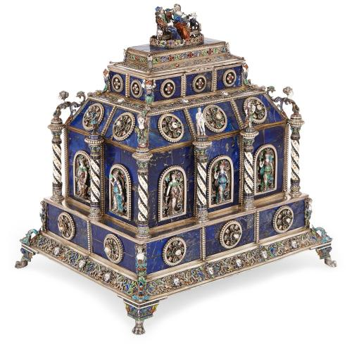 Viennese enamel casket with lapis lazuli, silver and gemstones