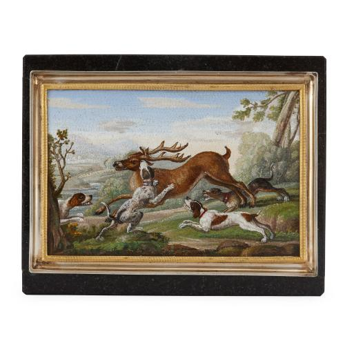 Antique marble snuff box with micromosaic hunting scene
