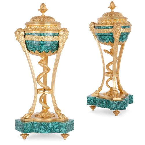Pair of French ormolu mounted malachite cassolettes