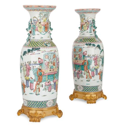 Pair Of Large Antique Chinese Canton Famille Rose Porcelain Vases