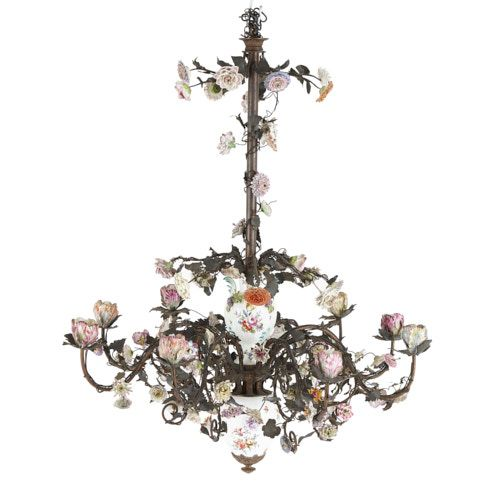 Meissen style porcelain mounted brass and iron chandelier