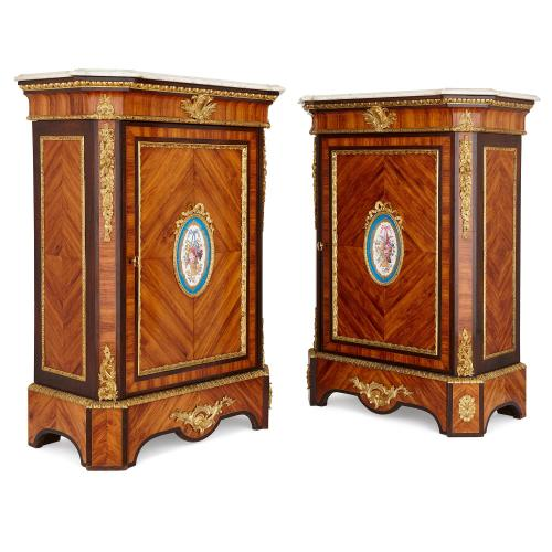 Pair of ormolu and Sevres style porcelain mounted cabinets