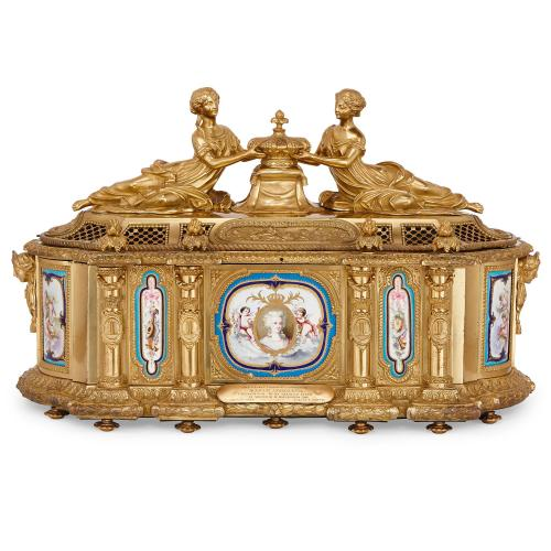 Ormolu and Sevres style porcelain 'Marie Antoinette' casket