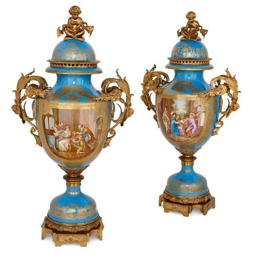 Large pair of ormolu and Sevres style porcelain vases