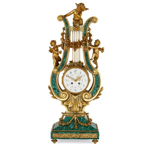 Large ormolu and malachite lyre shaped mantel clock