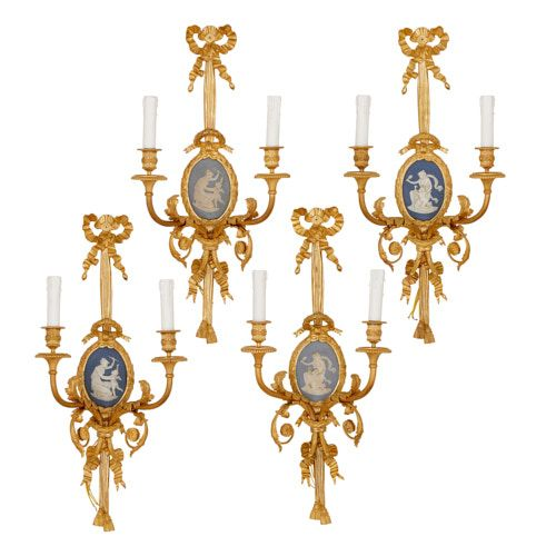 Four ormolu and jasperware wall lights by Vian and Beurdeley