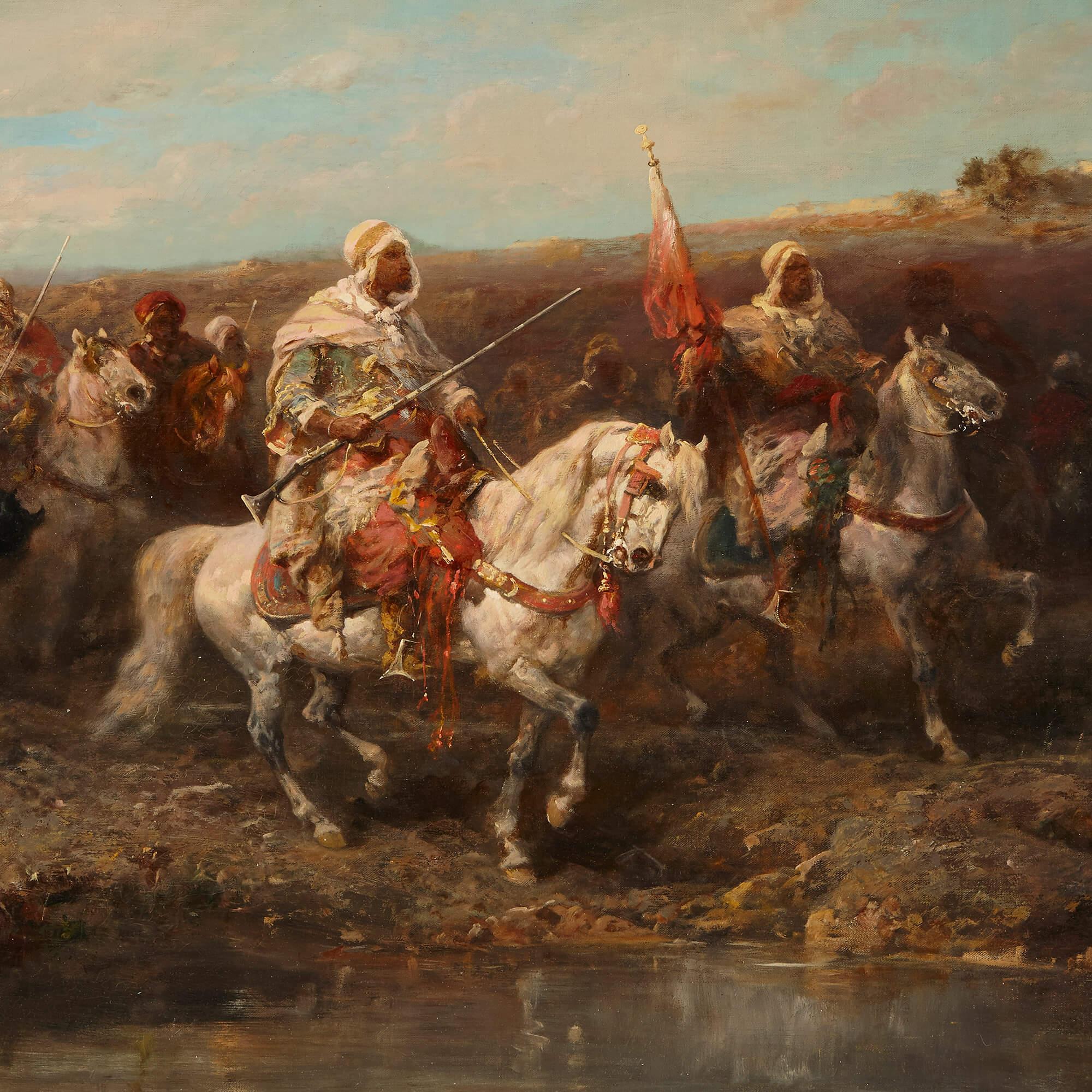 Arabian Horsemen Orientalist Painting By Schreyer Mayfair Gallery