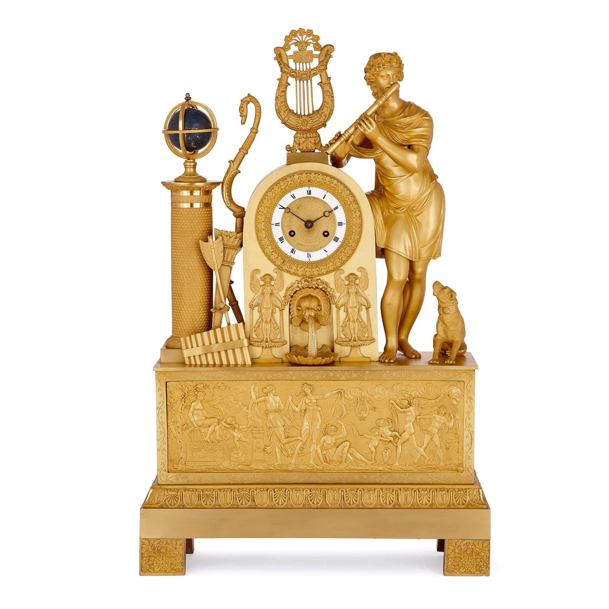 Large antique French Empire period ormolu mantel clock