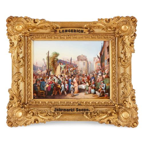 Antique KPM porcelain plaque depicting Lengerich market