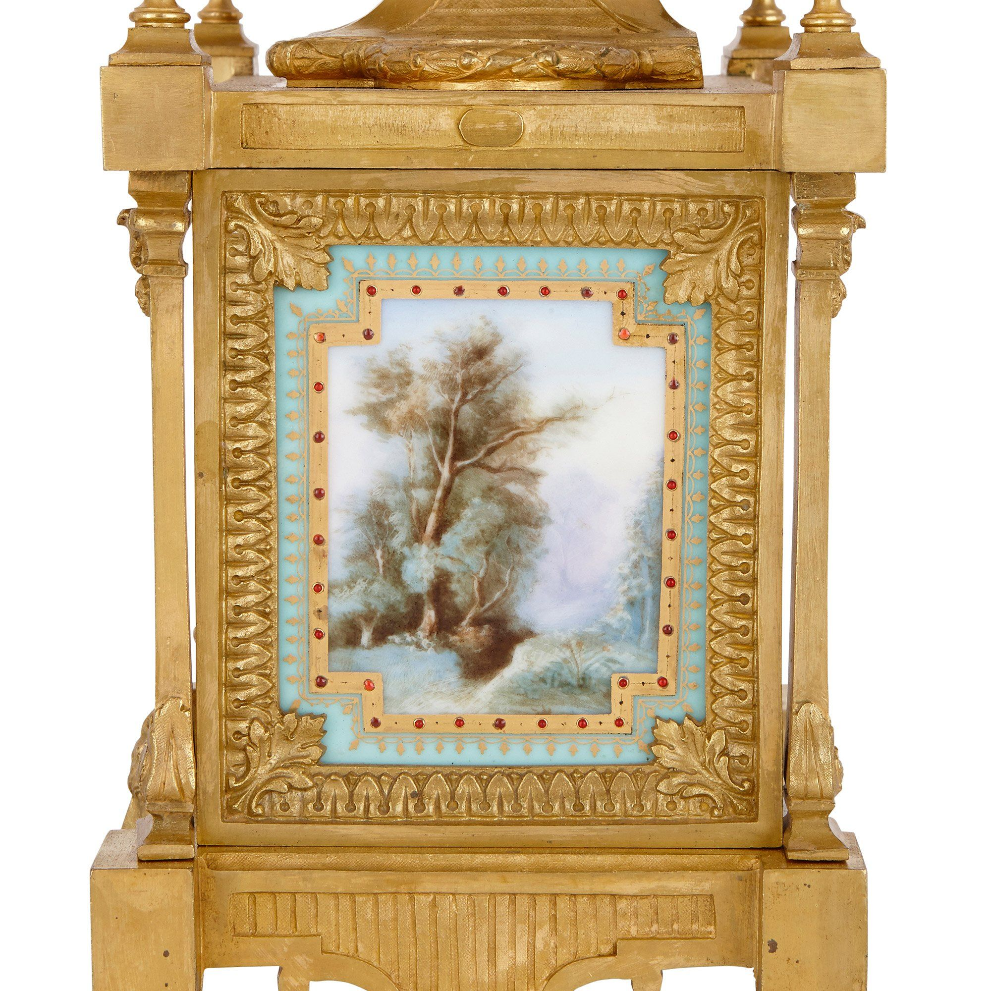 Antique ormolu and Sevres style porcelain mantel clock by ...