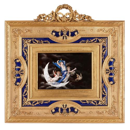 Antique Limoges enamel plaque in gilt bronze frame