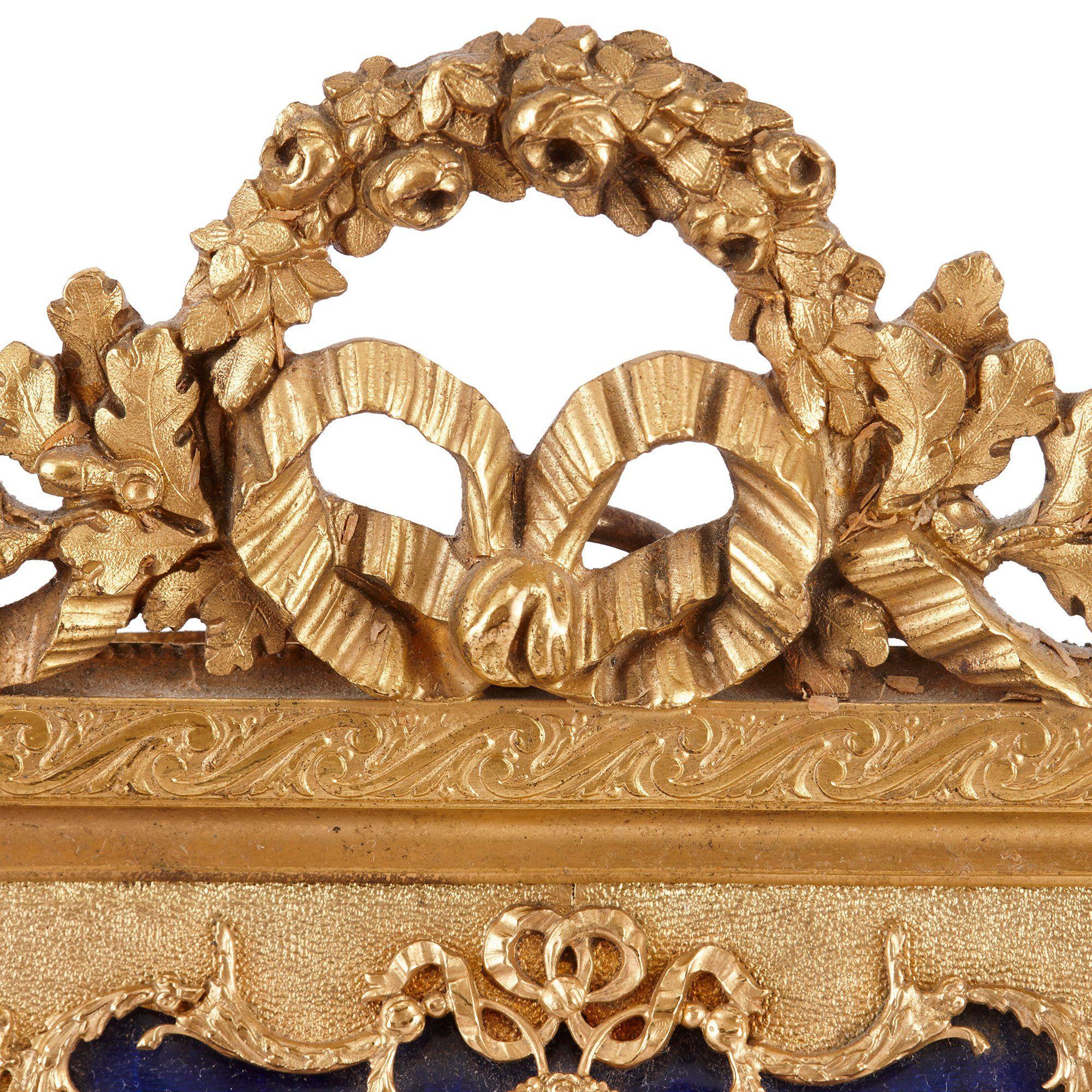 Antique Limoges Enamel Plaque In Gilt Bronze Frame