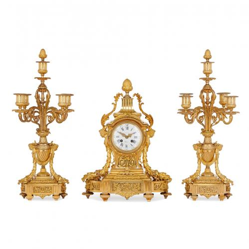 Antique French ormolu three piece clock set by Picard