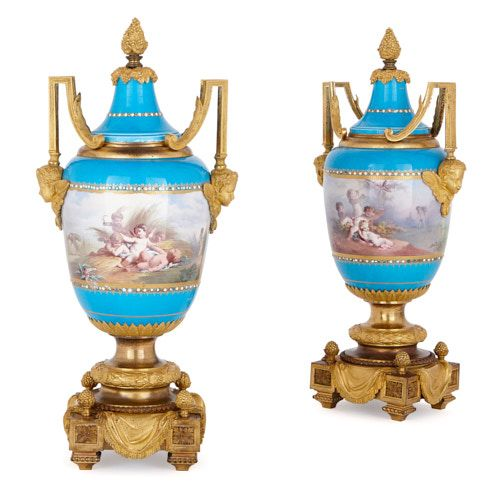 Two Sèvres style porcelain vases with ormolu mounts by Picard