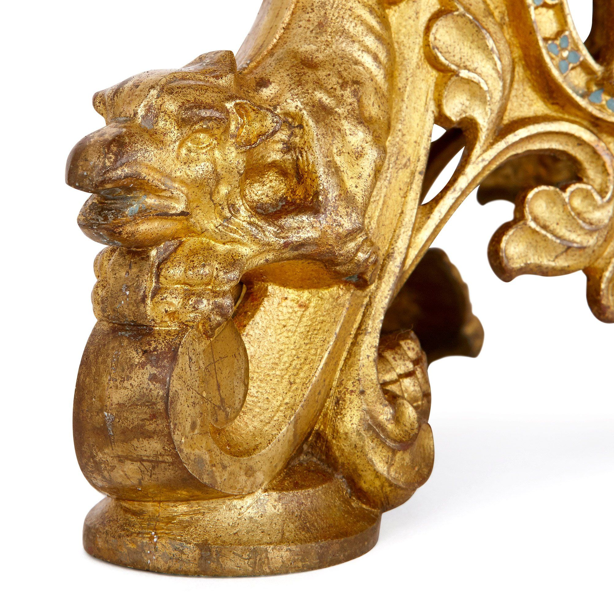 Pair Of Baroque Style Ormolu And Enamel Altar Candelabra