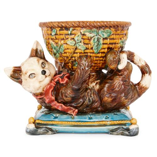 French majolica cat with bowl, by Jerome Massier, Vallauris