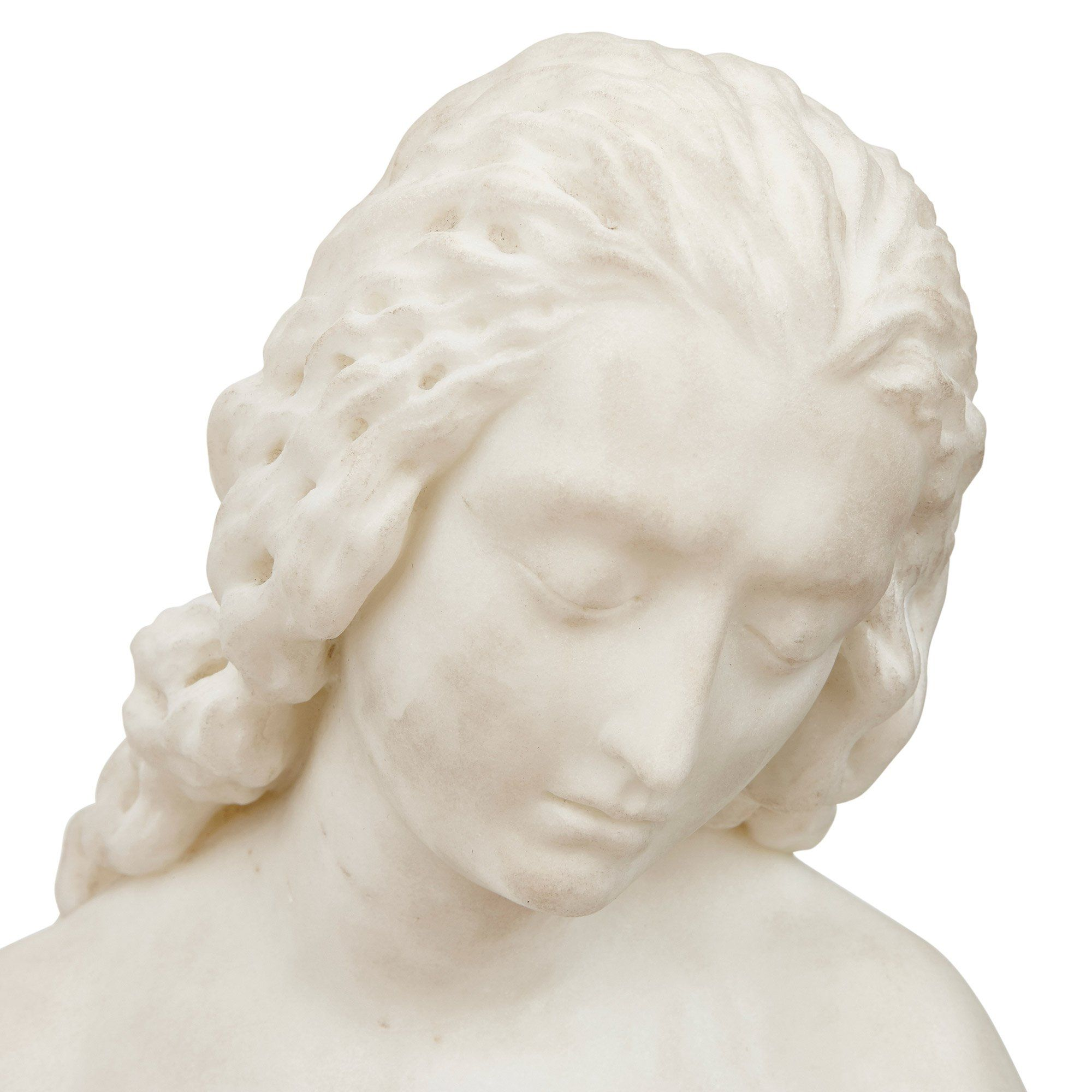 French 19th Century White Marble Sculpture Of Eve