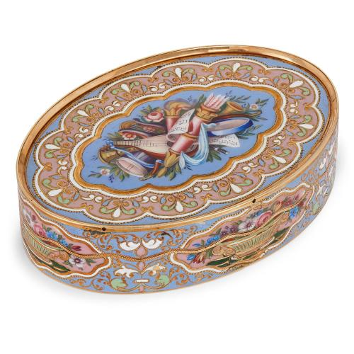 Antique Swiss gold and enamel snuff box