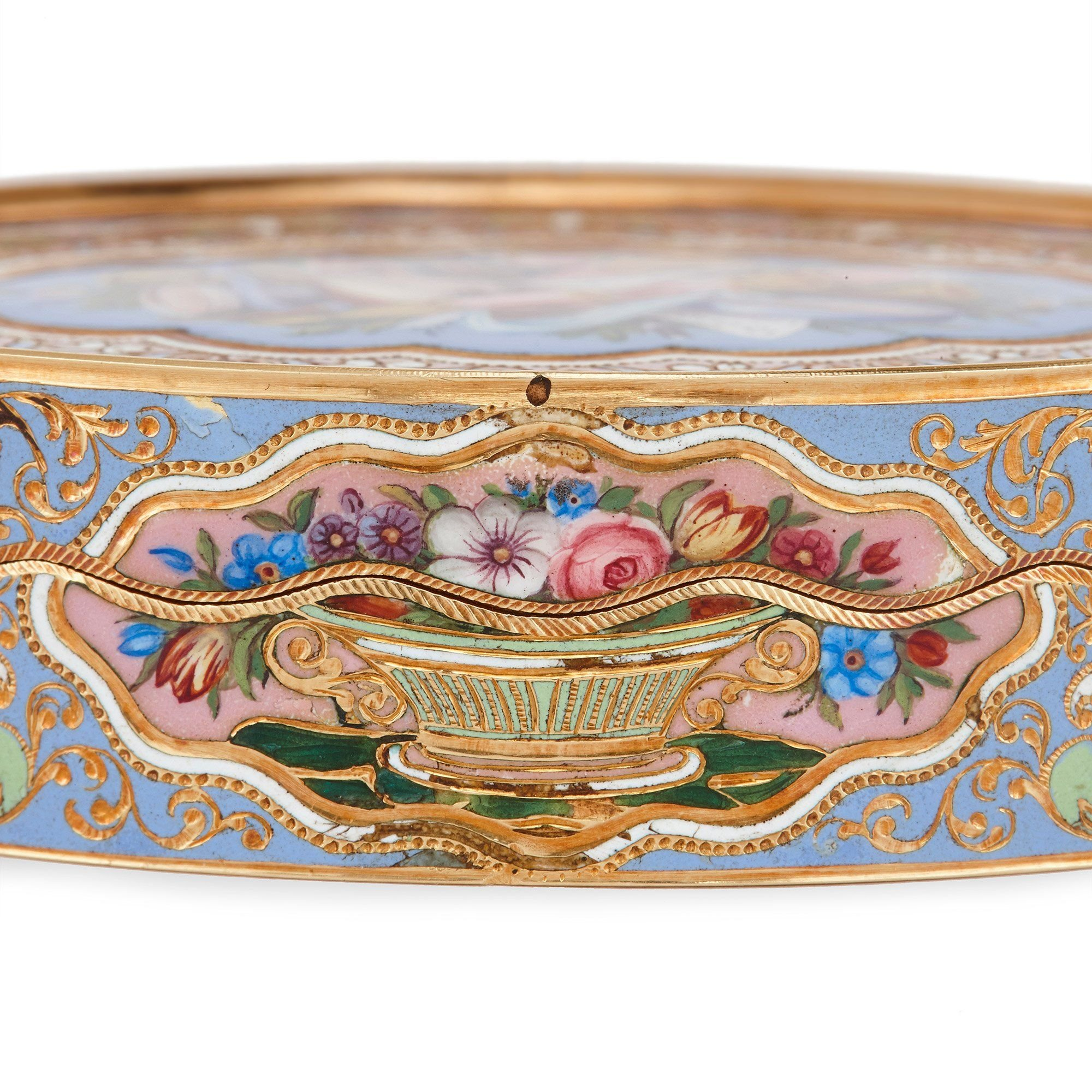 Antique Swiss Gold And Enamel Snuff Box Mayfair Gallery