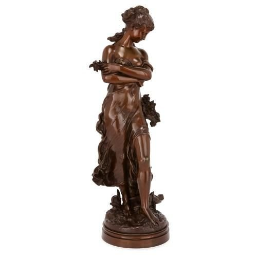 Antique French patinated bronze figure of a woman by Moreau