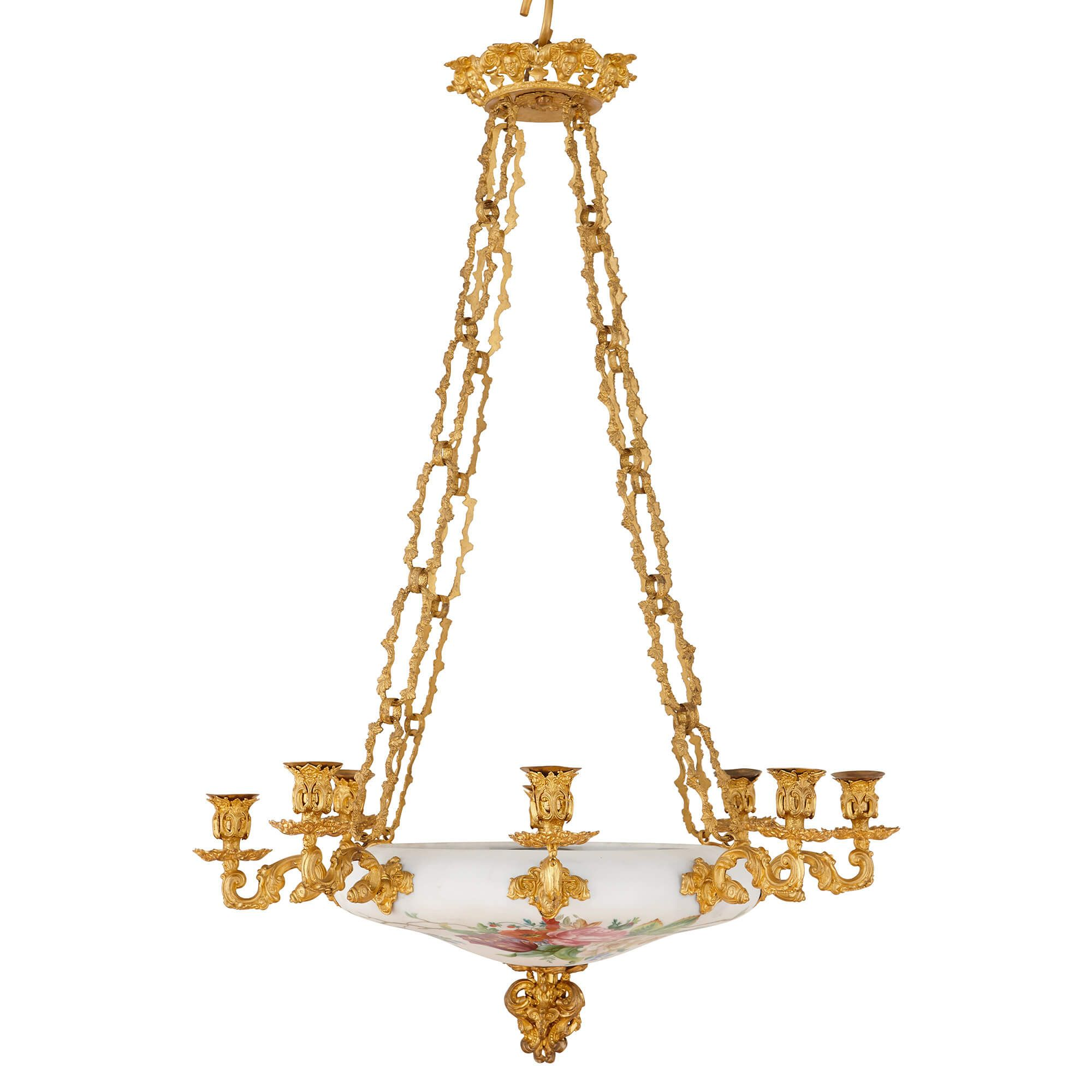 Antique French Ormolu And Opaline Glass Chandelier