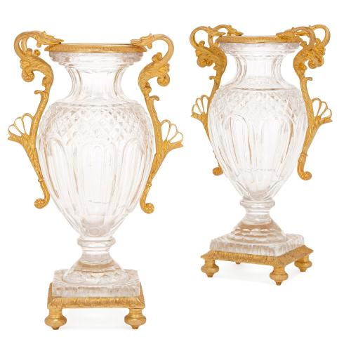 Pair Of French Antique Ormolu Mounted Cut Glass Vases Mayfair Gallery