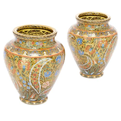 Pair of 19th Century enamelled glass vases by Lobmeyr