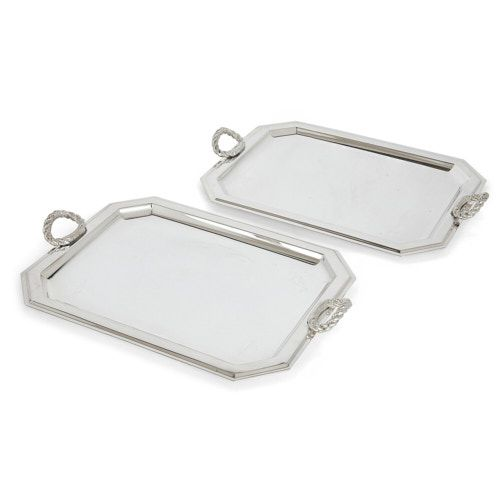 Pair of Lebanese silver-plate trays by Habis