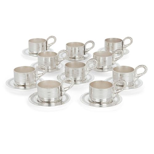 Set of ten silver-plate coffee cups and saucers by Habis