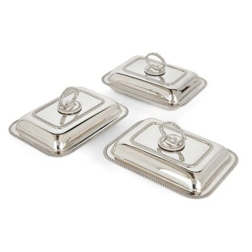 Three silver-plate entrée dishes and covers by Mappin & Webb