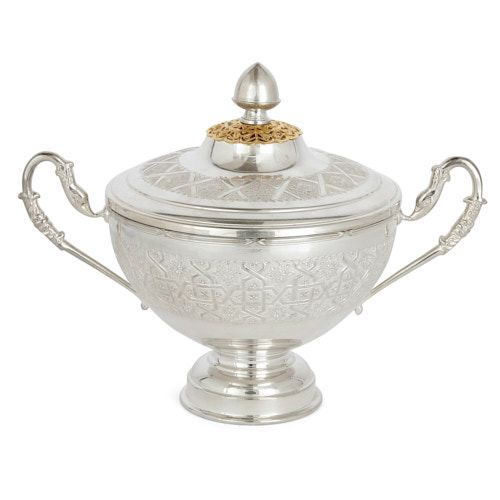 Moroccan silver-plate bowl and cover adorned with arabesques