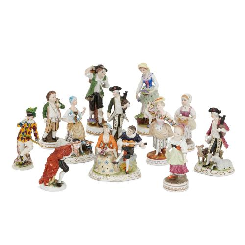 Twelve antique German Dresden porcelain figures