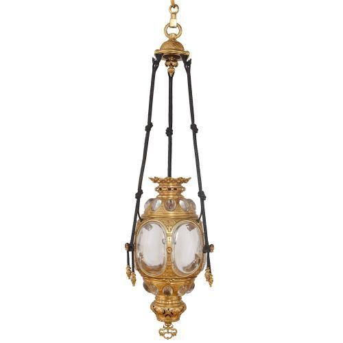 Gilt Metal And Glass Hall Lantern Mayfair Gallery