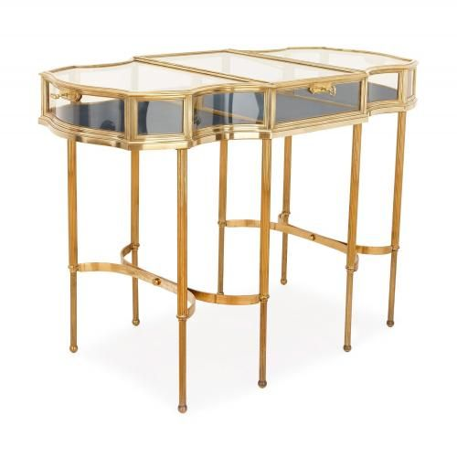 Antique French brass and glass vitrine table