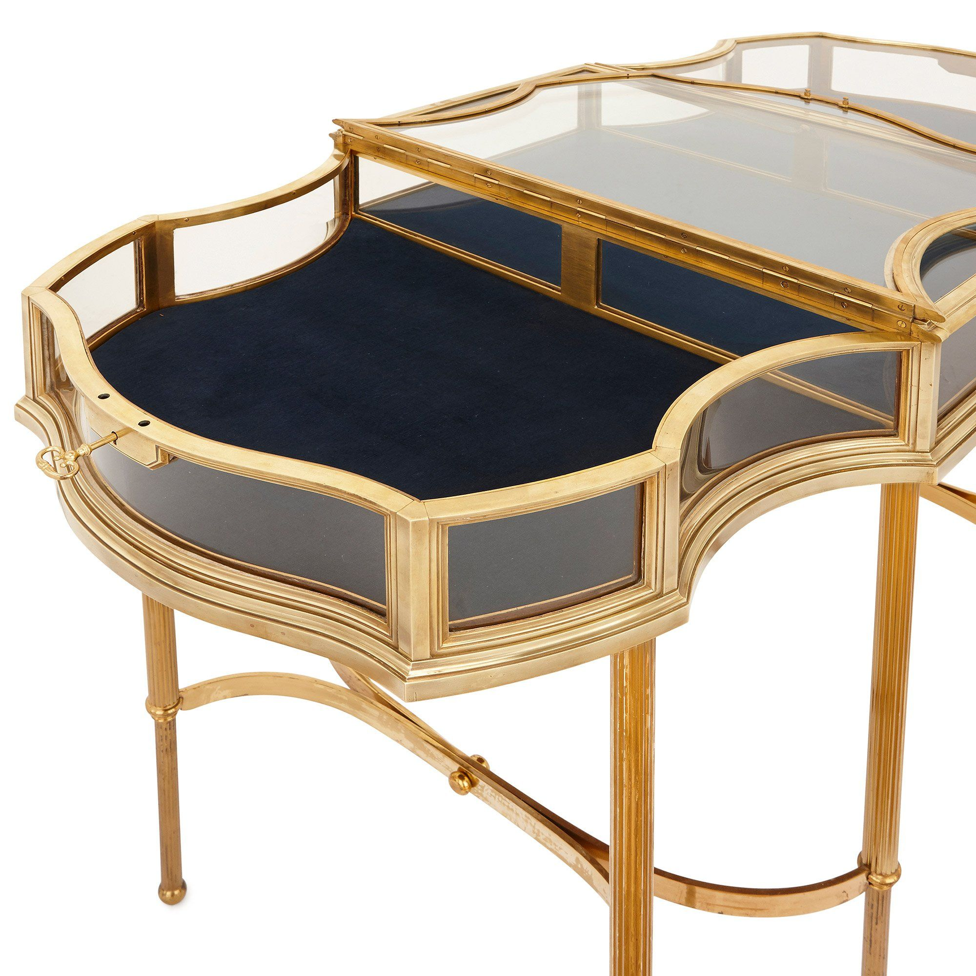 Antique French Brass And Glass Vitrine Table Mayfair Gallery